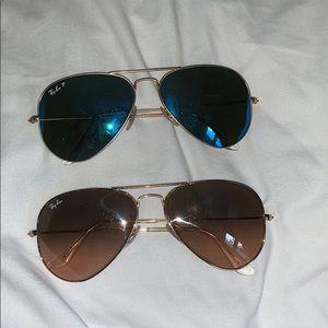 2 Pairs Large Rayban Aviator Glasses